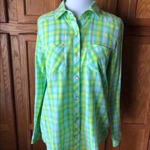 🍁KUT From The Kloth Women's Green Plaid Top EXC